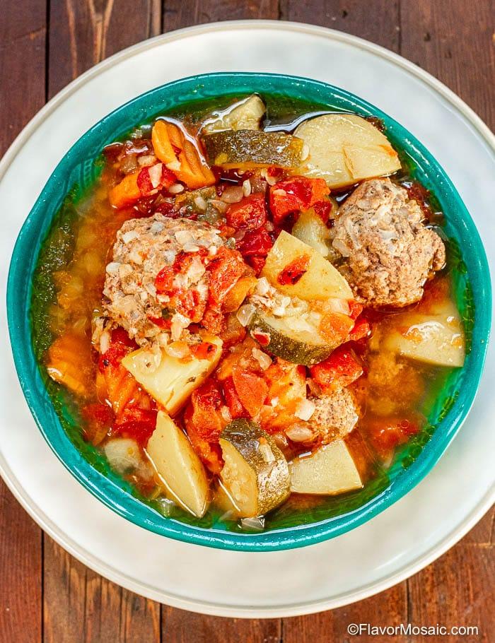 Overhead view - Instant Pot Albondigas Soup
