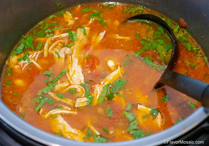 Chicken Tortilla Soup shown in the Instant Pot.
