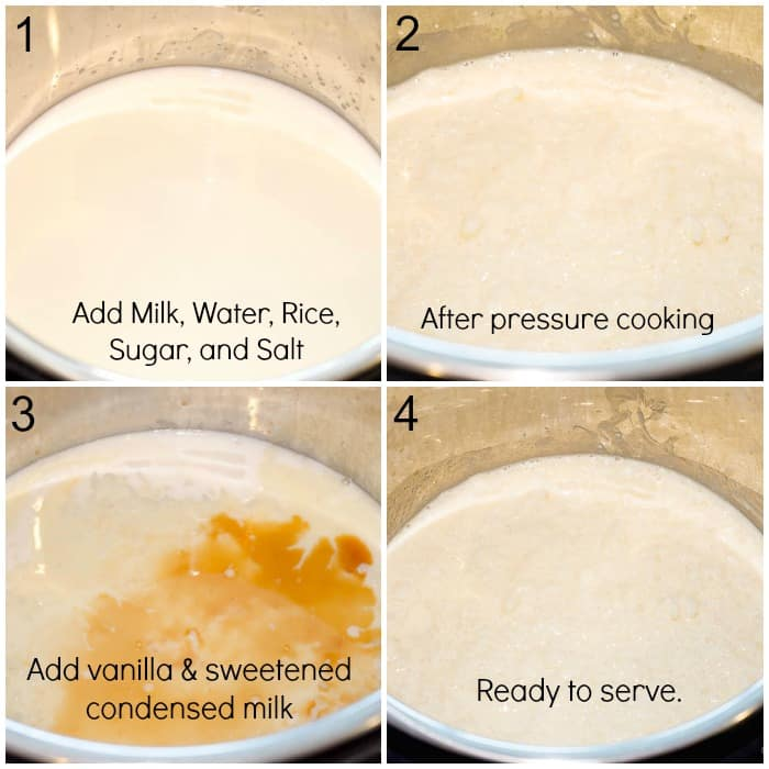 How To Make Instant Pot Mexican Rice Pudding - Arroz Con Leche - Step by Step Photo Collage