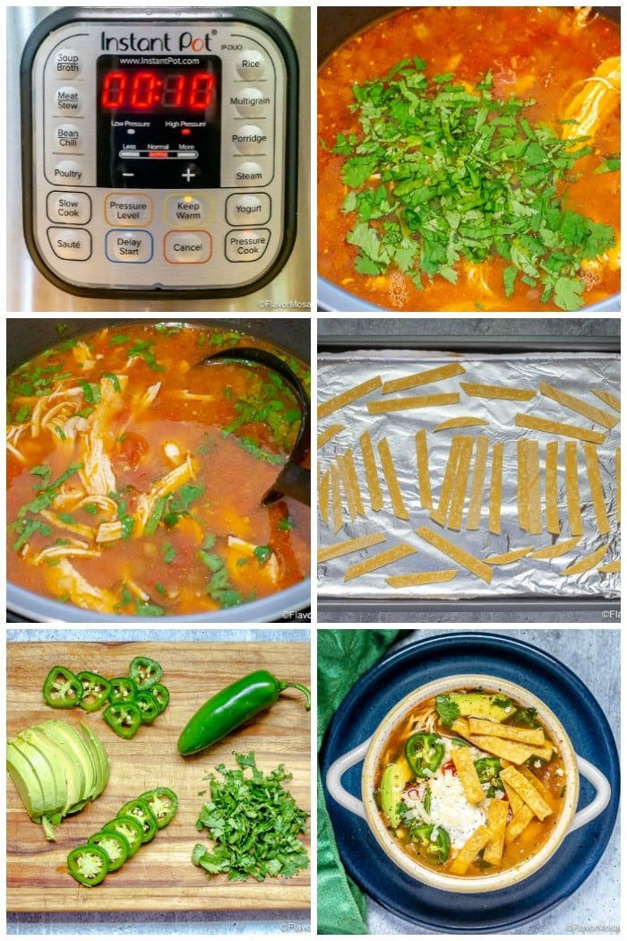 Photo Collage of last half of step by step photos of how to make Chicken Tortilla Soup
