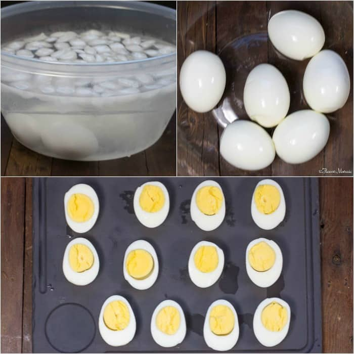 Southern Deviled Eggs - step by step photos of how to make hard boiled eggs for deviled eggs.
