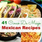 Cinco De Mayo Menu collage pin with pictures of Mexican recipes