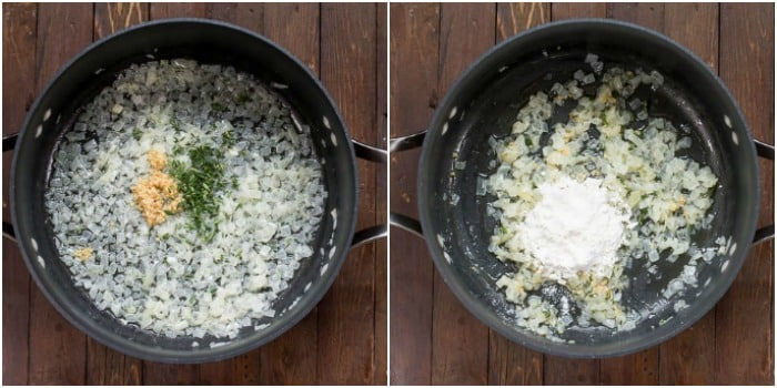 Easy Cheesy Scalloped Potatoes Step by Step Photos Add garlic and thyme to onions and then add flour.