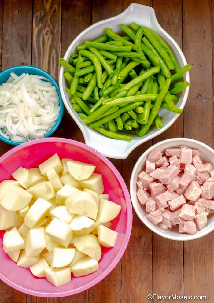 Overhead photo of ingredients for Instant Pot Ham Green Beans and Potatoes