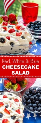 Berry Cheesecake Salad - Summer Red White & Blue Cheesecake Salad