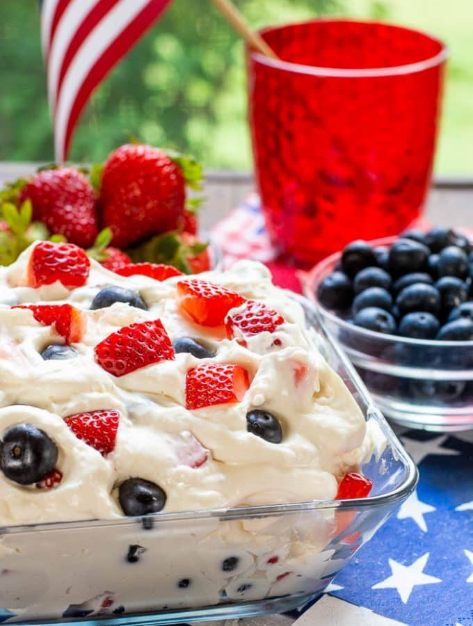 Berry Cheesecake Salad - Summer Red White and Blue-16