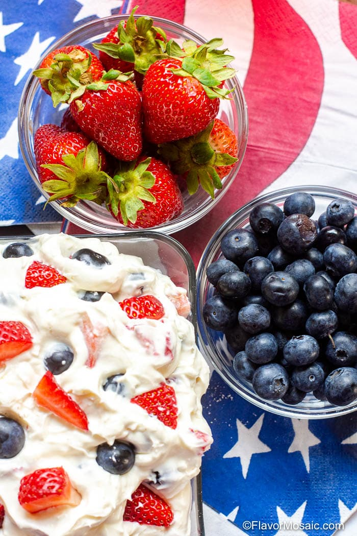 Berry Cheesecake Salad - Summer Red White and Blue-20