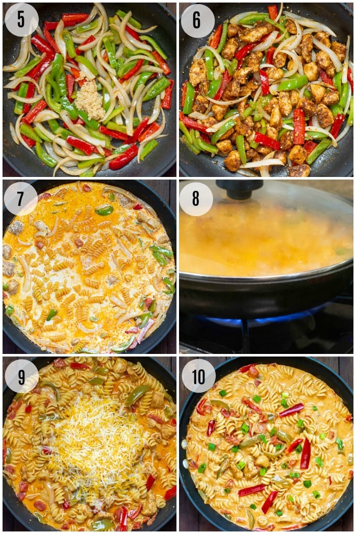 Chicken Fajita Pasta - Step by Step Photo Instructions Steps 5 - 10