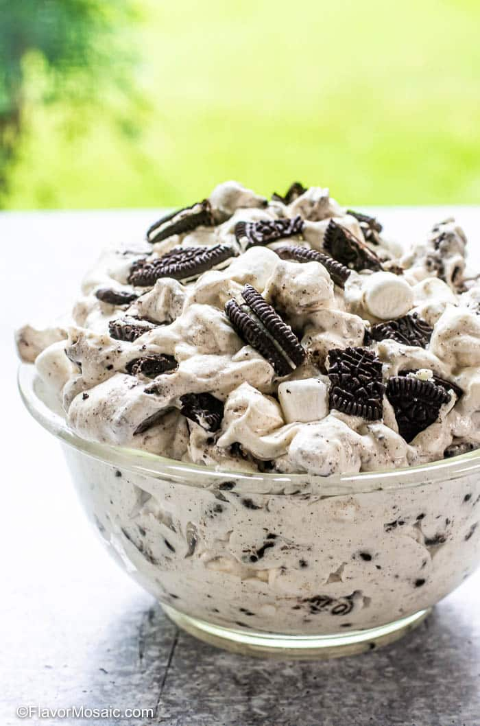 Side view of Oreo Fluff in glass bowl on table in front of window overlooking backyard.
