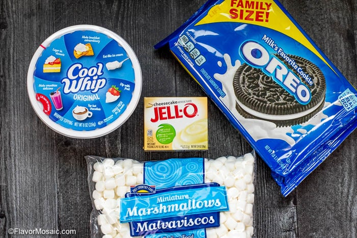 Overhead photo of ingredients for Oreo Fluff recipe