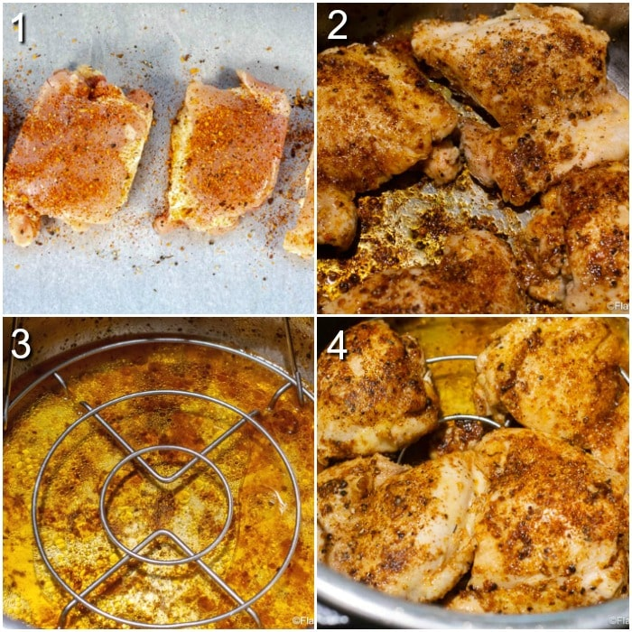 A 4-photo square collage showing the steps for making Instant Pot Chicken Thighs.