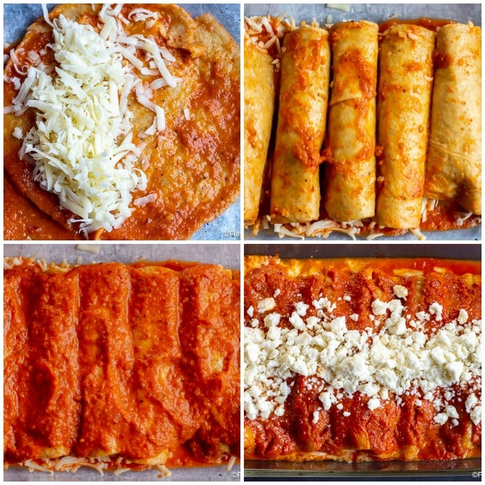 Enchiladas Rojas de Queso - Assembly Step by Step Photos