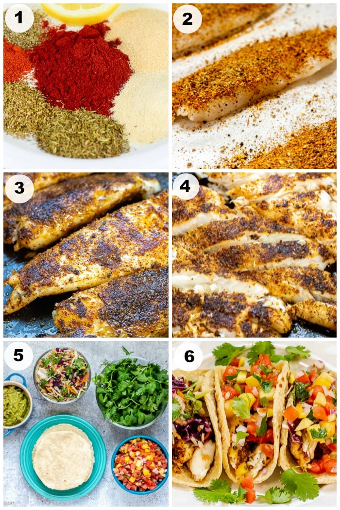 Photo Collage of Step By Step Photos of How To Make Blackened Fish Tacos. The numbers of each photo match to the step number in the written instructions.