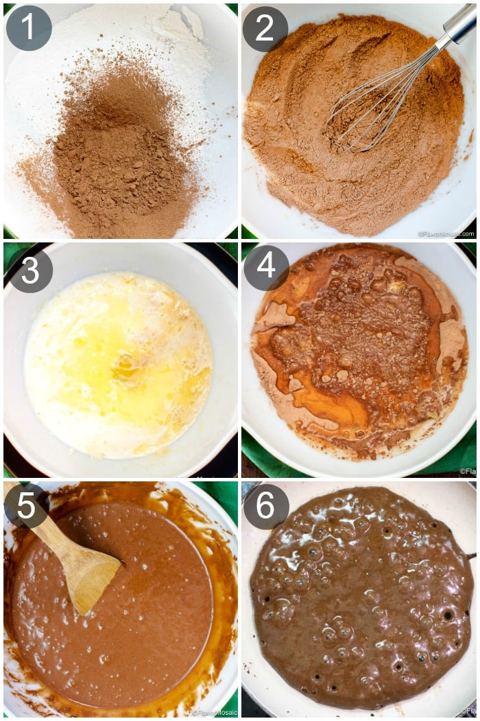 Vertical collage photo showing 6 steps of how to make chocolate pancakes.