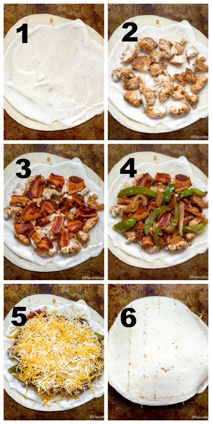 Chicken Bacon Ranch Quesadillas Step By Step How to Make Photo Collage Flavor Mosaic