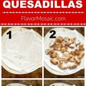 Long pin showing steps of how to make Chicken Bacon Ranch Quesadillas. Finished photo at the top with a red label with the title in white text with the 6 step by step photos at the bottom.