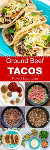Ground Beef Tacos Long Pin with How To Photos Flavor Mosaic