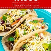 Ground Beef Tacos Recipe Pin with Red Label from Flavor Mosaic