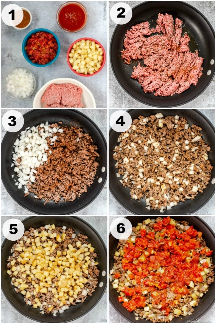 Picadillo Con Papas Numbered Step By By Instructions Photo Collage