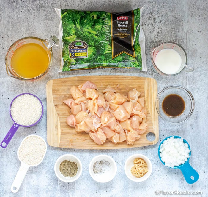 Ingredients for Instant Pot Broccoli Cheese Chicken And Rice Casserole