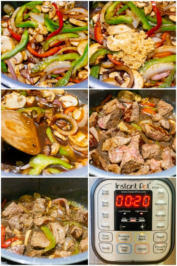 Photo Collage showing step by step photos of how to make Instant Pot Beef Tips and Gravy. Last 6 steps.