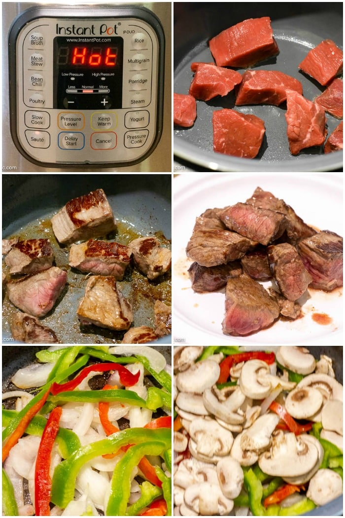 Photo Collage showing step by step photos of how to make Instant Pot Beef Tips and Gravy. First 6 steps.