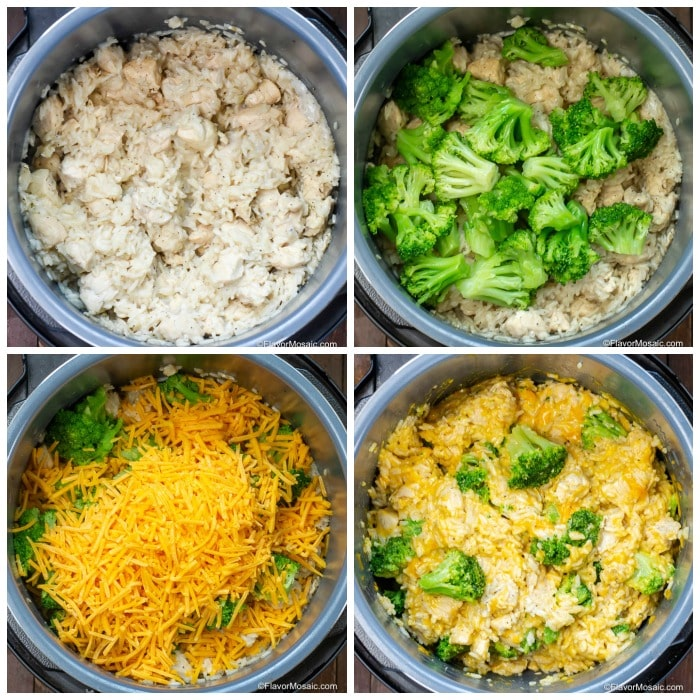 Step By Step Photos of how to make Instant Pot Broccoli Cheese Chicken and Rice Casserole