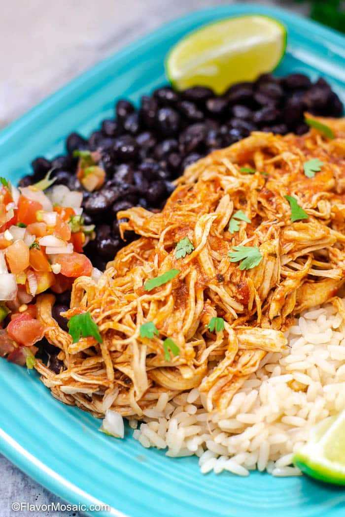 Instant Pot Chicken Tinga with rice and beans on blue plate