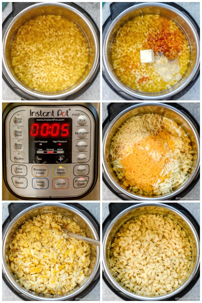 Instant Pot Mac and Cheese How To Make Step By Step Photo Collage Flavor Mosaic
