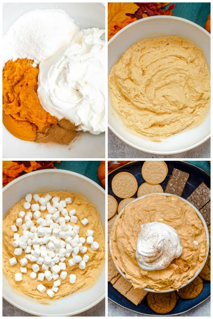 Photo Collage showing each step of How To Make Pumpkin Fluff