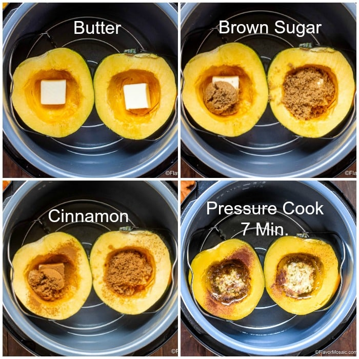 Step By Step Photo Collage with steps labeled for how to make Instant Pot Acorn Squash.