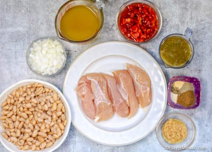 Ingredients for Instant Pot White Chicken Chili to be added BEFORE Pressure Cooking