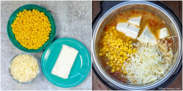 Photo Collage showing the ingredients - corn - cream cheese - shredded cheese - that are added after pressure cooking white chicken chili