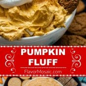 Pumpkin Fluff Pin with 2 photos and red label for Flavor Mosaic