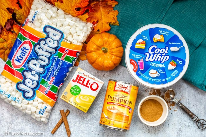 Overhead photo of ingredients used to make Pumpkin Fluff