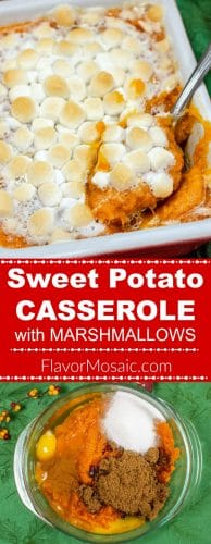 Sweet Potato Casserole with Marshmallows long pin for Pinterest with 2 photos and red label with white text.
