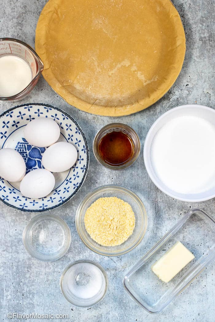Ingredients For Chess Pie - Southern Dessert