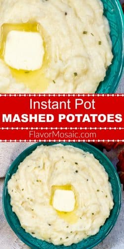 Instant Pot Mashed Potatoes Pin 2 photos red label