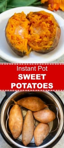 Instant Pot Sweet Potatoes Pin - 2 Photos - Red Label - Flavor Mosaic