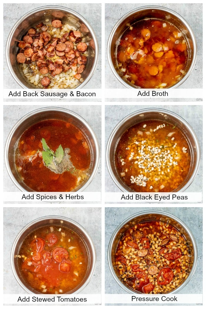 Step By Step Photo Collage How To Make Instant Pot Black Eyed Peas - Flavor Mosaic