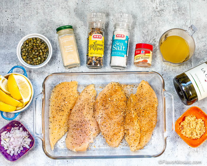 Overhead photo of Ingredients for Instant Pot Chicken Piccata