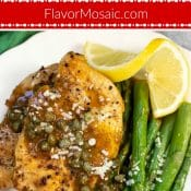 Instant Pot Chicken Piccata on white plate Flavor Mosaic 1 photo red label pin