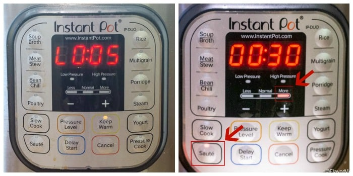Instant Pot Display showing the steps of Natural Release and Sauté function.