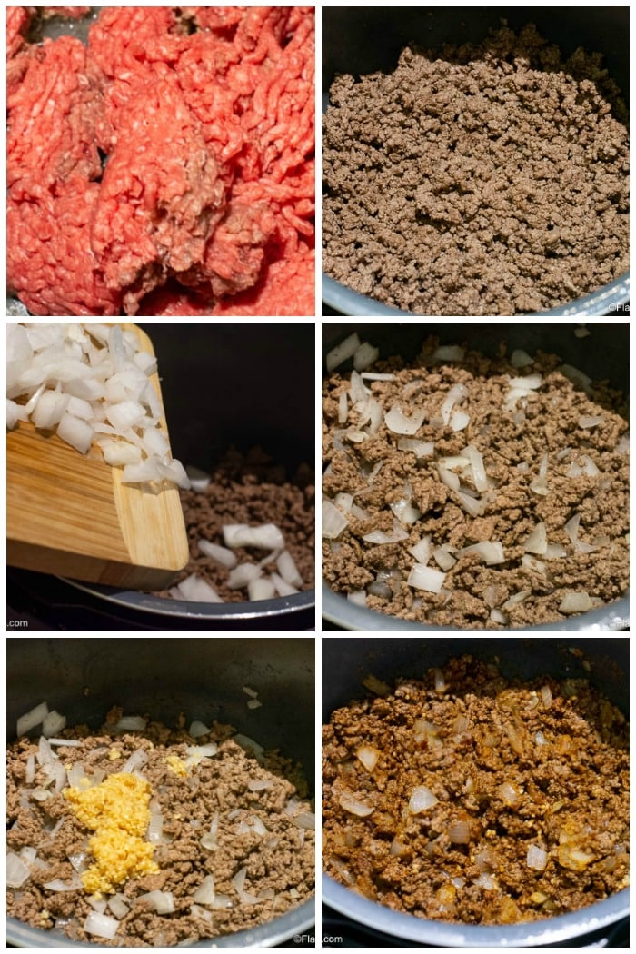 Instant Pot Taco Soup - Step By Step Photos Browning Ground Beef onions and garlic