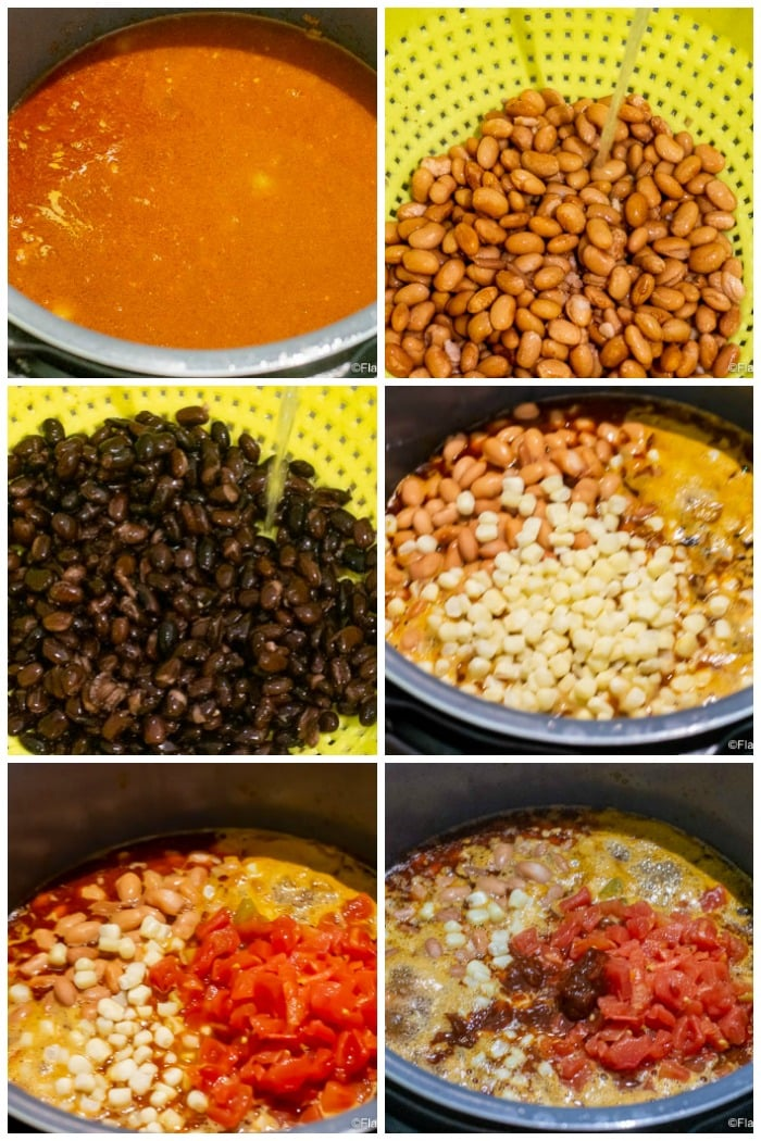 Instant Pot Taco Soup Step by Step Photos of each ingredient added to soup - after liquid