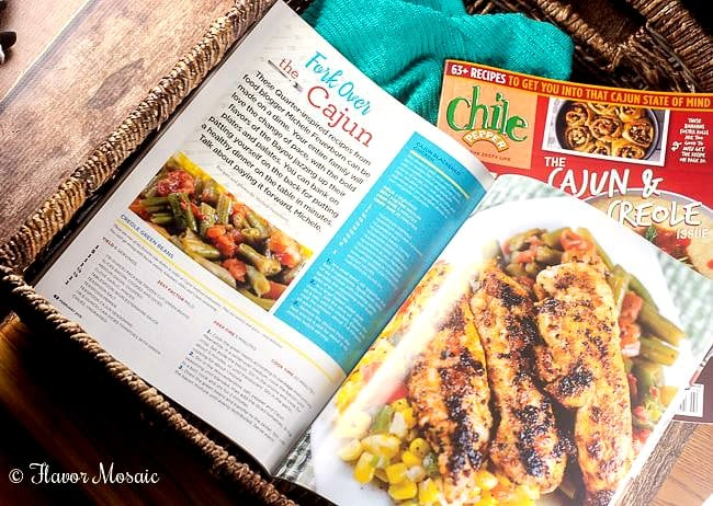 Photo of 2 pages of Chile Pepper Magazine open to the Cajun Blackened Chicken Recipe