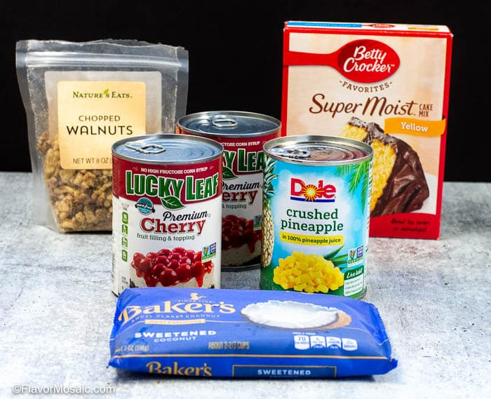 Ingredients needed to make Cherry Pineapple Dump Cake