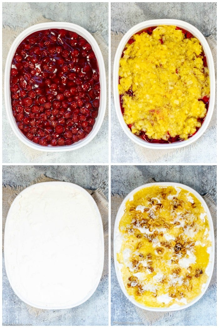 Photo collage of each layer of the Cherry Pineapple Dump Cake