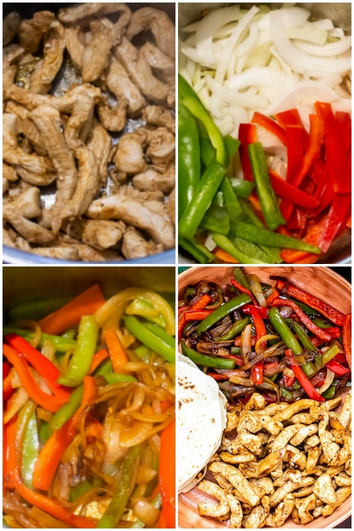 How To Make Instant Pot Chicken Fajitas Photo Collage showing steps.
