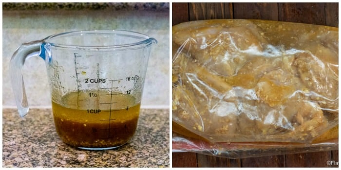 Photo collage with photo of measuring cup with marinade and then photo of chicken in marinade in plastic zip top bag.